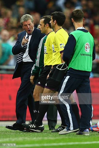 Roy Hodgson manager of England protests to match officials after the FIFA 2014 World Cup Group H qualifying match between England and Ukraine at...
