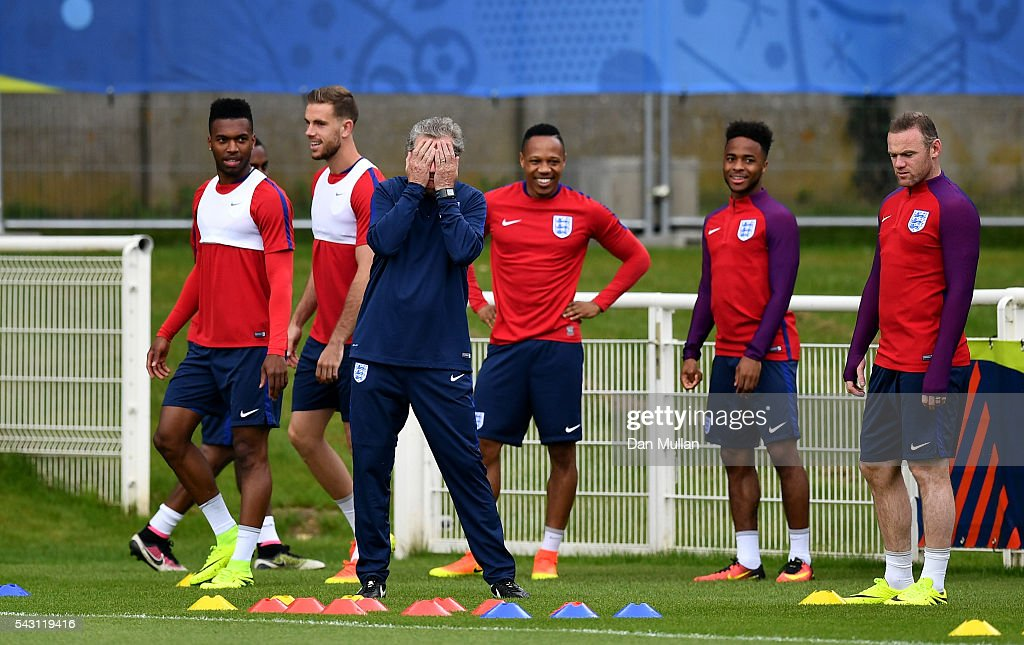 <a gi-track='captionPersonalityLinkClicked' href=/galleries/search?phrase=Roy+Hodgson&family=editorial&specificpeople=881703 ng-click='$event.stopPropagation()'>Roy Hodgson</a>, Manager of England reacts during a training session ahead of the UEFA Euro 2016 match against Iceland at Stade du Bourgognes on June 26, 2016 in Chantilly, France.