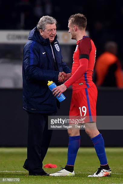 Roy Hodgson manager of England shakes hands with Jamie Vardy after their 32 win in the International Friendly match between Germany and England at...