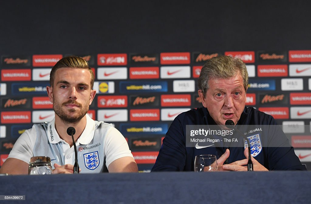 <a gi-track='captionPersonalityLinkClicked' href=/galleries/search?phrase=Roy+Hodgson&family=editorial&specificpeople=881703 ng-click='$event.stopPropagation()'>Roy Hodgson</a> manager of England speaks as <a gi-track='captionPersonalityLinkClicked' href=/galleries/search?phrase=Jordan+Henderson&family=editorial&specificpeople=4940390 ng-click='$event.stopPropagation()'>Jordan Henderson</a> looks on during an England press conference on the eve of their international friendly against Australia at the Hilton Gateshead on May 26, 2016 in Newcastle upon Tyne, England.