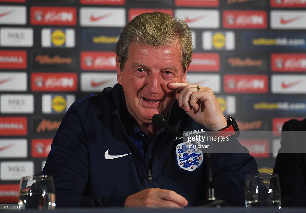 <a gi-track='captionPersonalityLinkClicked' href=/galleries/search?phrase=Roy+Hodgson&family=editorial&specificpeople=881703 ng-click='$event.stopPropagation()'>Roy Hodgson</a> manager of England speaks during an England press conference on the eve of their international friendly against Australia at the Hilton Gateshead on May 26, 2016 in Newcastle upon Tyne, England.