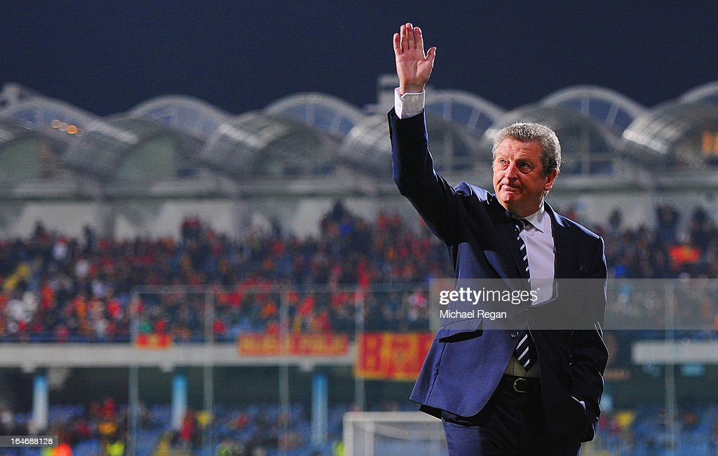 <a gi-track='captionPersonalityLinkClicked' href=/galleries/search?phrase=Roy+Hodgson&family=editorial&specificpeople=881703 ng-click='$event.stopPropagation()'>Roy Hodgson</a>, manager of England waves prior to the FIFA 2014 World Cup Qualifier Group H match between Montenegro and England at City Stadium on March 26, 2013 in Podgorica, Montenegro.