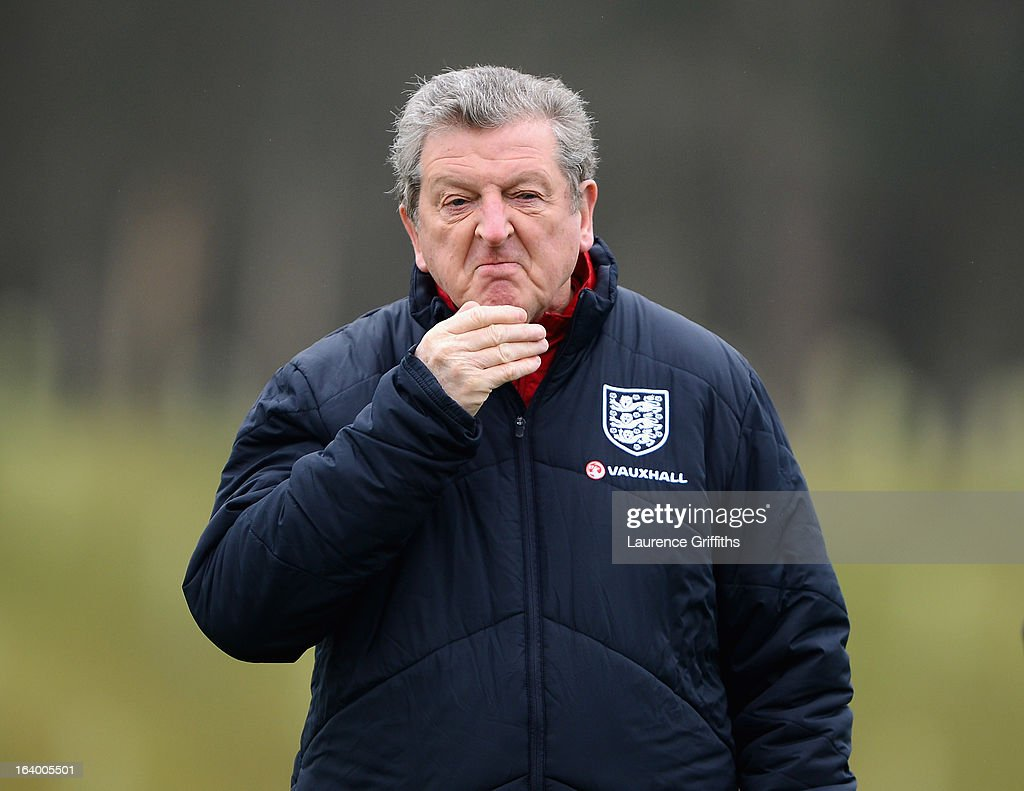 <a gi-track='captionPersonalityLinkClicked' href=/galleries/search?phrase=Roy+Hodgson&family=editorial&specificpeople=881703 ng-click='$event.stopPropagation()'>Roy Hodgson</a> of England looks on during a training session at St Georges Park on March 19, 2013 in Burton-upon-Trent, England.