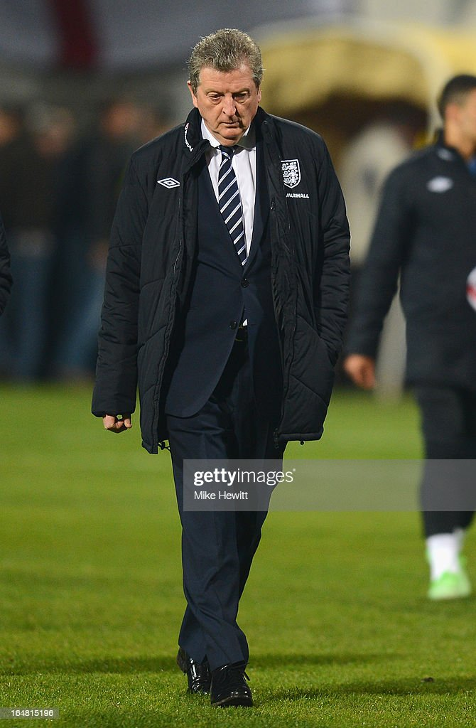 Roy Hodgson of England looks on during the FIFA 2014 World Cup Group H Qualifier between Montenegro and England at City Stadium on March 26, 2013 in Podgorica, Montenegro.