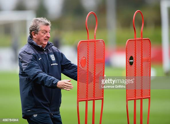 OCTOBER 07 Roy Hodgson of England sets up for a training session at St Georges Park on October 7 2014 in BurtonuponTrent England