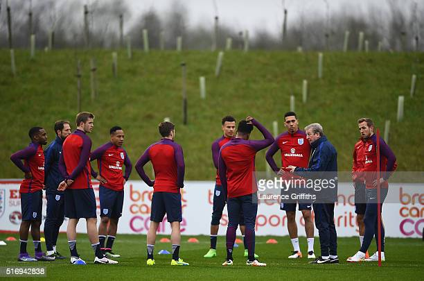 Roy Hodgson of England speaks with his players during England Training Session and Press Conference at St Georges Park on March 22 2016 in...