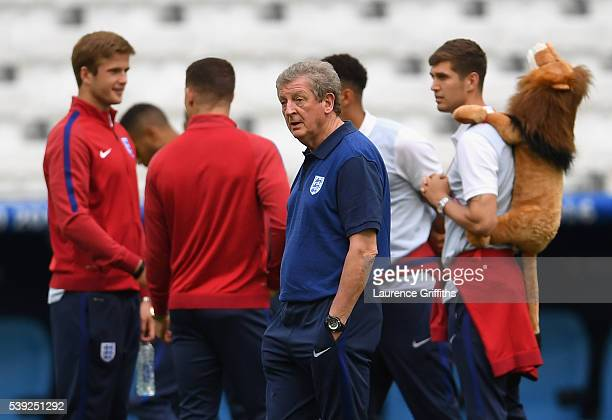 Roy Hodgson of England walks out for a glimpse of the stadium during an England training session ahead of the EURO 2016 Group B match against England...