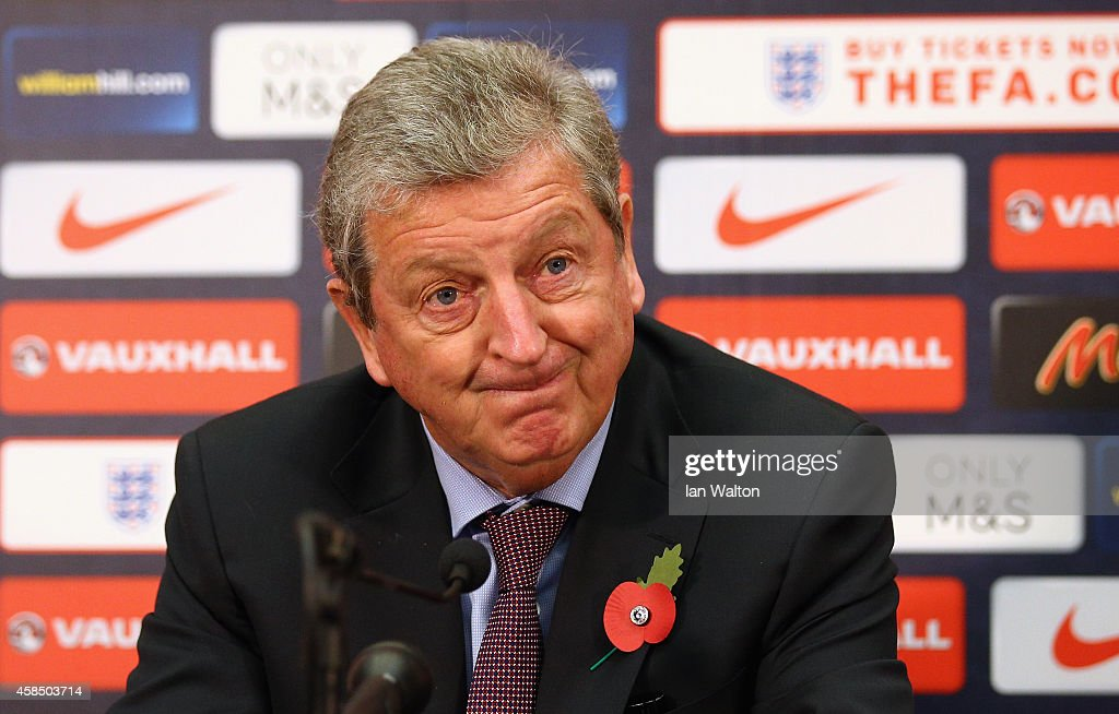 <a gi-track='captionPersonalityLinkClicked' href=/galleries/search?phrase=Roy+Hodgson&family=editorial&specificpeople=881703 ng-click='$event.stopPropagation()'>Roy Hodgson</a> the England manager talks to the media during the England senior & U21 squad announcement at Wembley Stadium on November 6, 2014 in London, England.