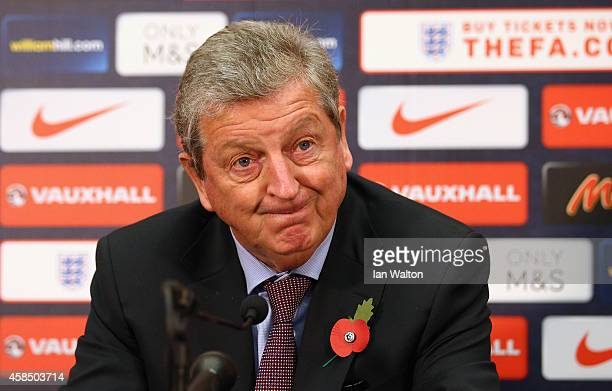 Roy Hodgson the England manager talks to the media during the England senior U21 squad announcement at Wembley Stadium on November 6 2014 in London...