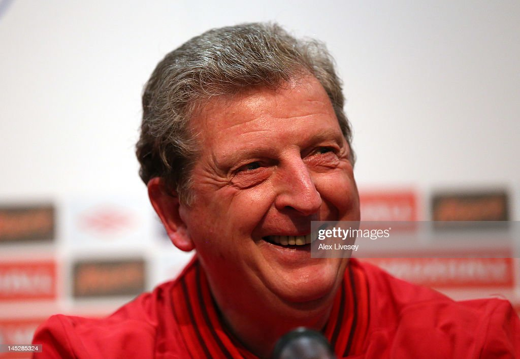 <a gi-track='captionPersonalityLinkClicked' href=/galleries/search?phrase=Roy+Hodgson&family=editorial&specificpeople=881703 ng-click='$event.stopPropagation()'>Roy Hodgson</a> the manager of England faces the media during the England press conference at the Ullevaal Stadion on May 25, 2012 in Oslo, Norway.