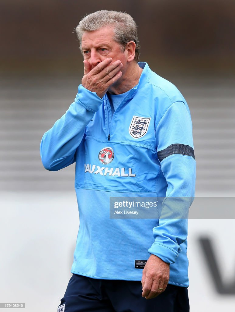 <a gi-track='captionPersonalityLinkClicked' href=/galleries/search?phrase=Roy+Hodgson&family=editorial&specificpeople=881703 ng-click='$event.stopPropagation()'>Roy Hodgson</a> the manager of England looks on during a training session at St Georges Park on September 3, 2013 in Burton-upon-Trent, England.