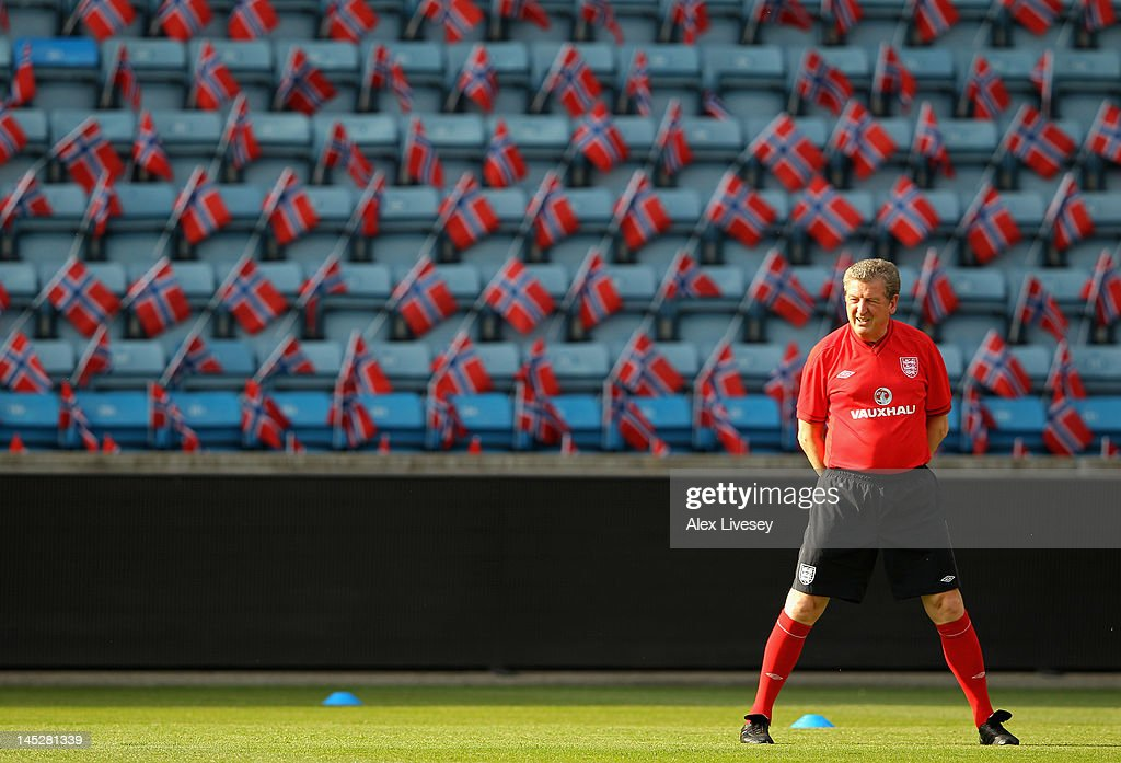 Roy Hodgson the manager of England looks on during the England training session at the Ullevaal Stadion on May 25, 2012 in Oslo, Norway.