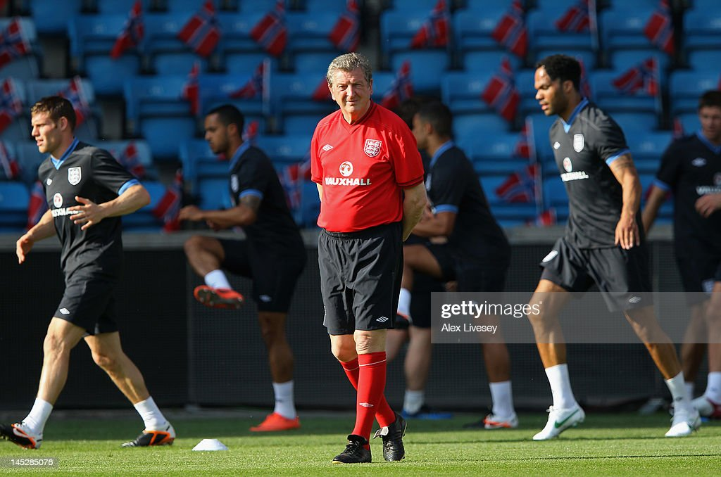 <a gi-track='captionPersonalityLinkClicked' href=/galleries/search?phrase=Roy+Hodgson&family=editorial&specificpeople=881703 ng-click='$event.stopPropagation()'>Roy Hodgson</a> the manager of England looks on during the England training session at the Ullevaal Stadion on May 25, 2012 in Oslo, Norway.
