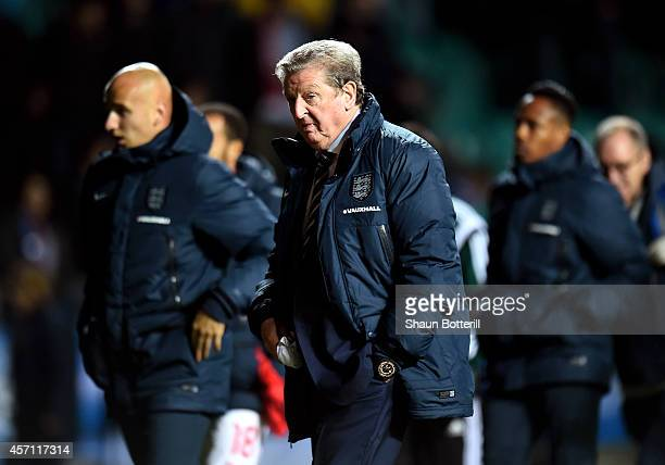 Roy Hodgson the manager of England walks off the pitch at halftime during the EURO 2016 Qualifier match between Estonia and England at A Le Coq Arena...