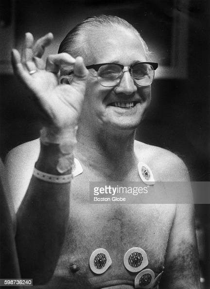 Roy Hopkins gives the 'OK' sign about his chances on the stress test at Beth Israel Hospital in Boston on Sept 12 1988 Hopkins was given the new TPA...