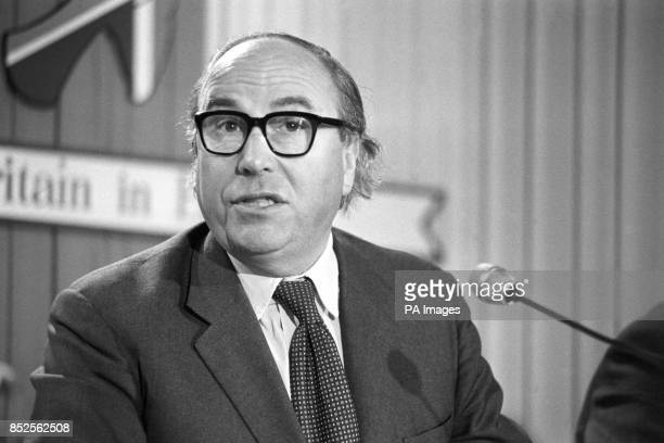 Roy Jenkins at a press conference at the Waldorf Hotel for the organisation Britain in Europe