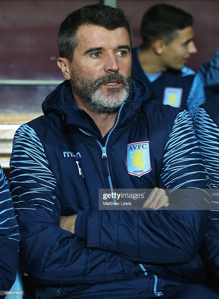 BIRMINGHAM ENGLAND NOVEMBER Roy Keane assistant manager of Aston Villa looks on from the bench prior to the Barclays Premier League match between...