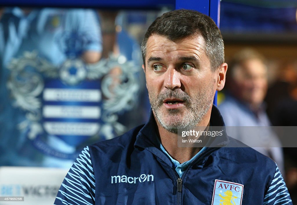 Roy Keane Aston Villa assistant manager looks on prior to the Barclays Premier League match between Queens Park Rangers and Aston Villa at Loftus...