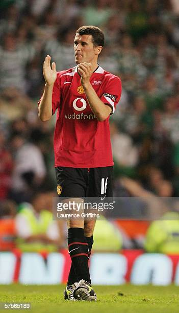 Roy Keane of Celtic applauds the fans at the end of his Testimonial match between Manchester United and Celtic at Old Trafford on May 9 2006 in...