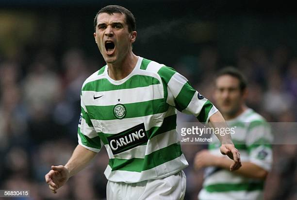 Roy Keane of Celtic shouts to his team mates during the Scottish Premier League match between Rangers and Celtic at Ibrox Stadium on February 12 2006...