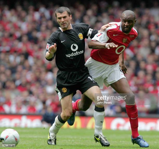 Roy Keane of Manchester United clashes with Patrick Vieira of Arsenal during the FA Cup Final match between Arsenal and Manchester United at the...