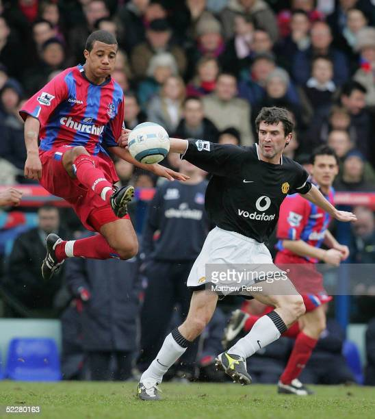 Roy Keane of Manchester United clashes with Tom Soares of Crystal Palace during the Barclays Premiership match between Crystal Palace and Manchester...