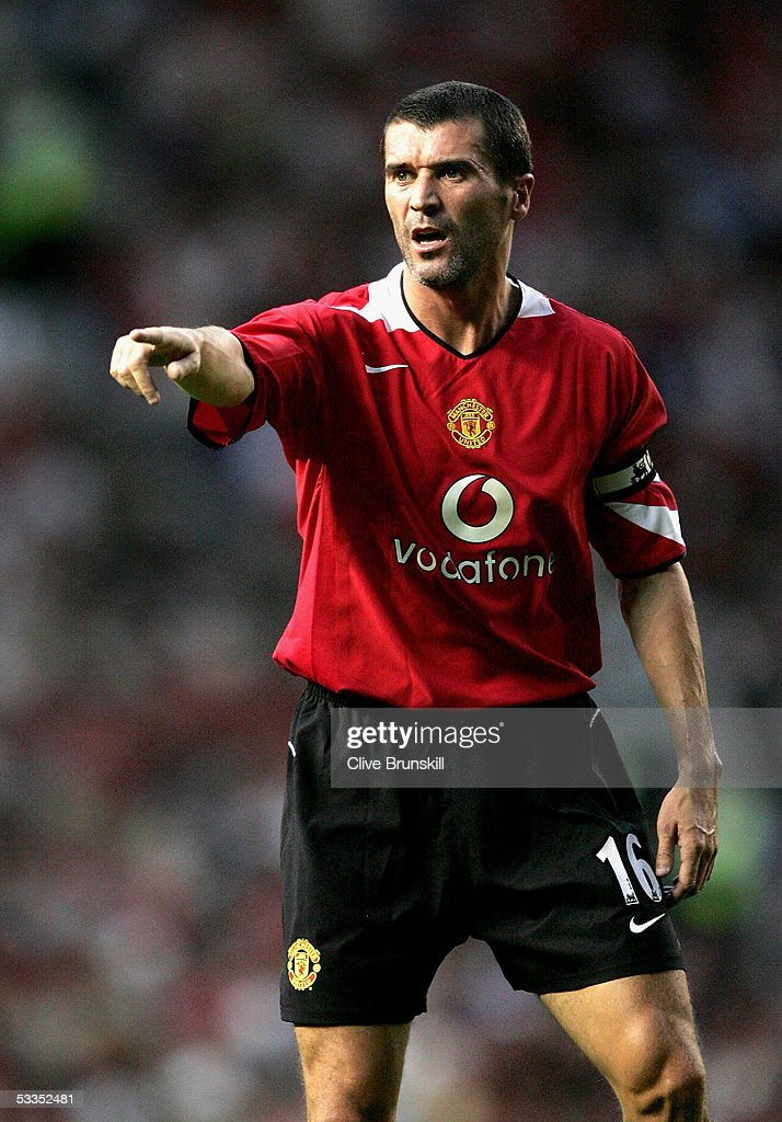 Roy Keane of Manchester United during the Champions League third qualifying round first leg match between Manchester United and Debreceni VSC at Old...