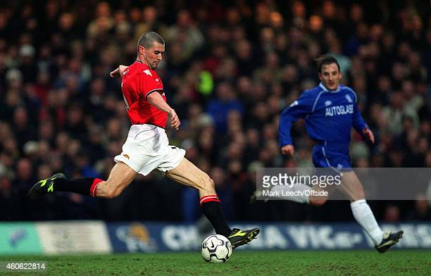 Roy Keane of Manchester United during the Premiership match between Chelsea and Manchester United at Stamford Bridge on February 10 2001 in London...