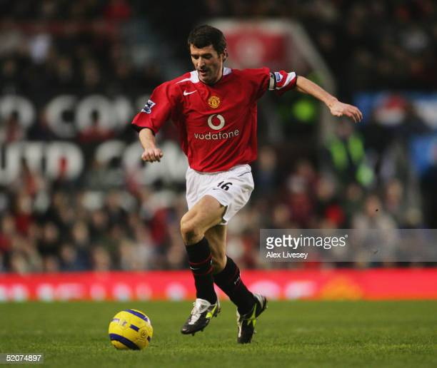 Roy Keane of Manchester United in action during the Barclays Premiership match between Manchester United and Aston Villa at Old Trafford on January...
