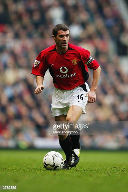 Roy Keane of Manchester United in action during the FA Barclaycard Premiership match between Manchester United and Blackburn Rovers at Old Trafford...