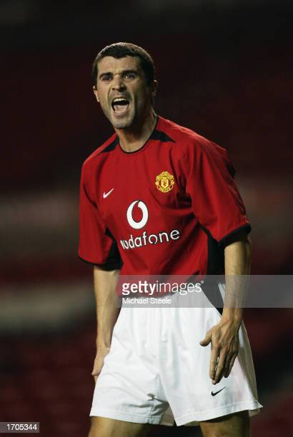 Roy Keane of Manchester United shouting at his team mates during his return to action in the reserve match between Manchester United and Newcastle...