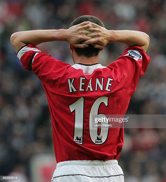 Roy Keane of Manchester United shows his disappointment during the Barclays Premiership match between Manchester United and Manchester City at Old...
