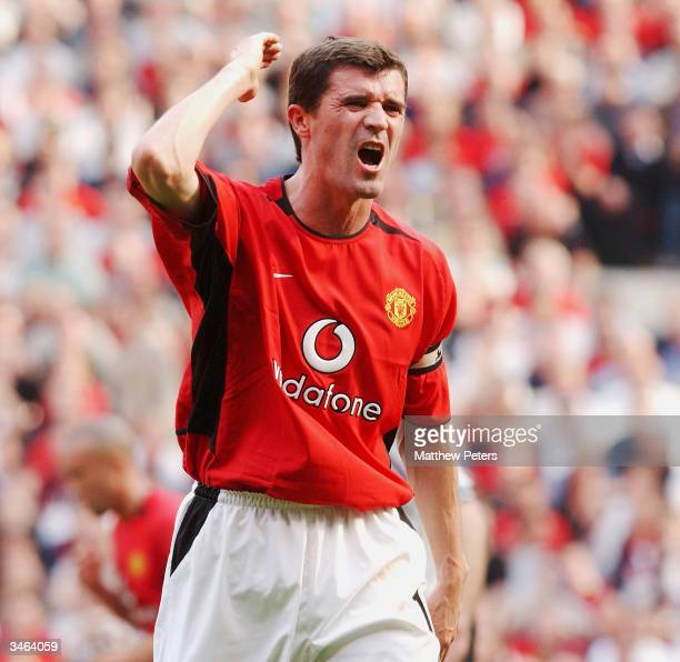 Roy Keane of Manchester United shows his frustration during the FA Barclaycard Premiership match between Manchester United and Liverpool at Old...