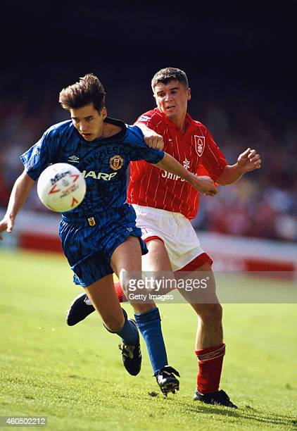 Roy Keane of Nottingham Forest challenges Darren Ferguson of Manchester United during an FA Premier League match between Nottingham Forest and...