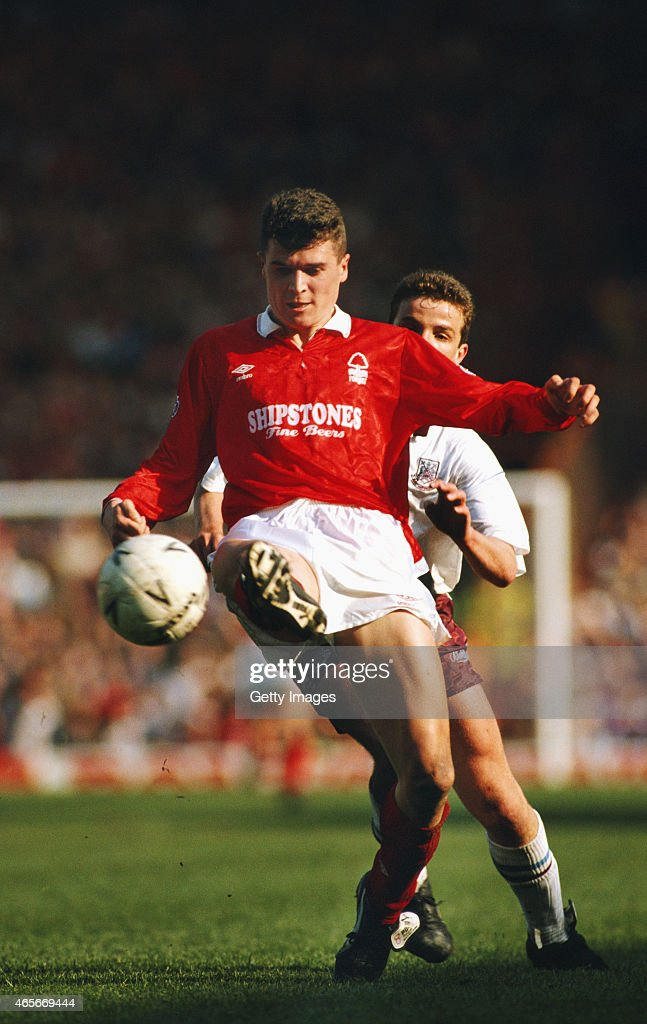Roy Keane of Nottingham Forest in action during the 1991 FA Cup semi final against West Ham at Villa Park on April 14 1991 in Birmingham England