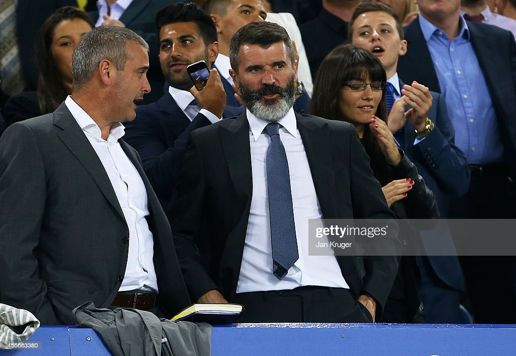 Roy Keane the Aston Villa assistant manager watches from the stands during the UEFA Europa League Group H match between Everton and VFL Wolfsburg on...