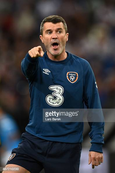 Roy Keane the Republic of Ireland assistant coach looks on during the EURO 2016 Qualifier between Germany and Republic of Ireland at the VeltinsArena...