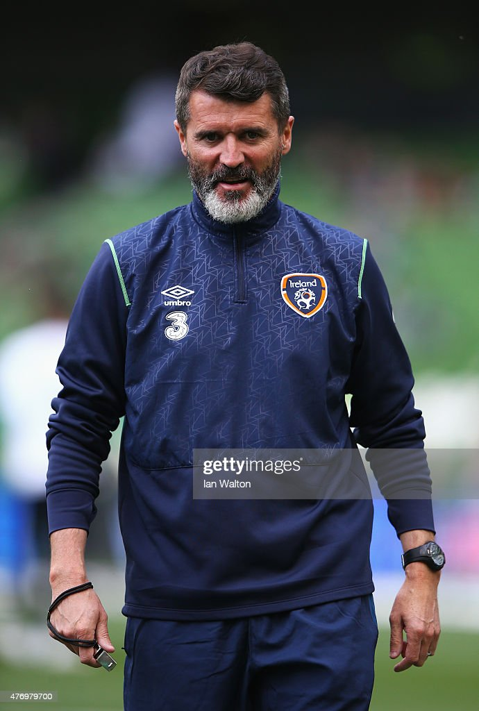 Roy Keane the Republic of Ireland assistant manager looks on prior to the UEFA EURO 2016 Qualifier Group D match between Republic of Ireland and...