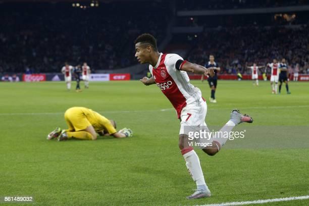Roy Kortsmit of Sparta Rotterdam David Neres of Ajax during the Dutch Eredivisie match between Ajax Amsterdam and Sparta Rotterdam at the Amsterdam...