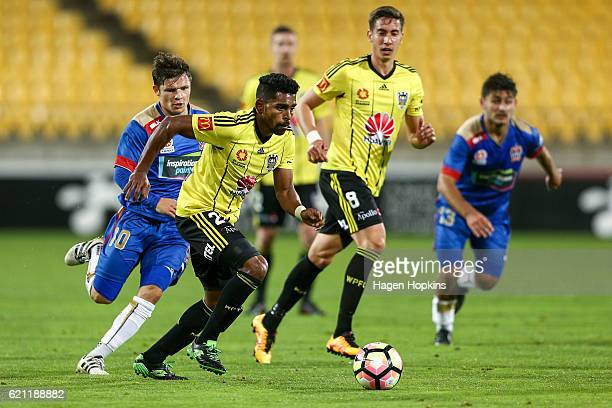 Roy Krishna of the Phoenix beats the challenge of Wayne Brown of the Jets during the round five ALeague match between the Wellington Phoenix and the...