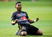 Roy Krishna of the Phoenix celebrates after scoring a goal during the round eight ALeague match between Wellington Phoenix and Melbourne City at...