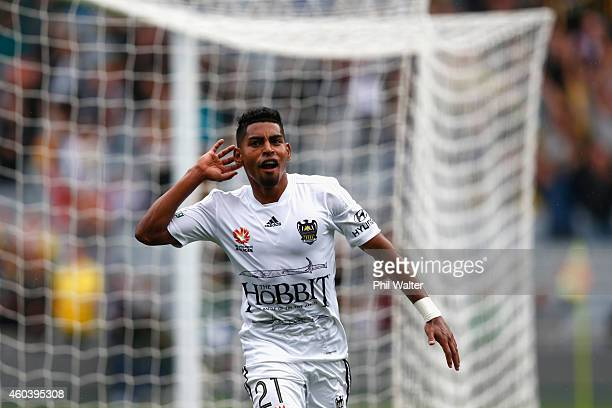 Roy Krishna of the Phoenix celebrates his goal during the round 11 ALeague match between the Wellington Phoenix and the Central Coast Mariners at...