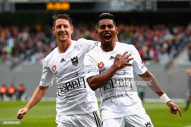 Roy Krishna of the Phoenix celebrates his goal with Nathan Burns during the round 11 ALeague match between the Wellington Phoenix and the Central...