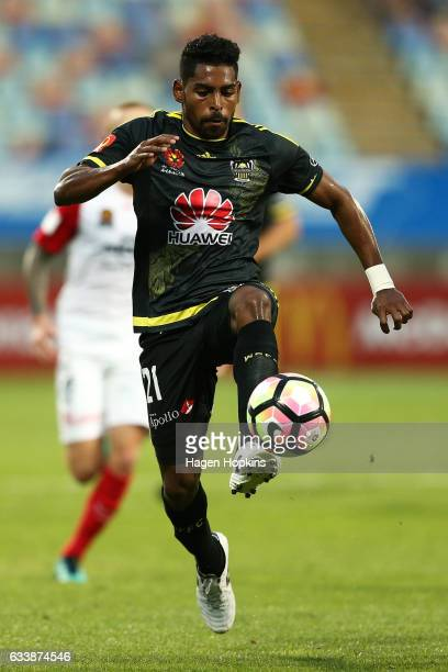 Roy Krishna of the Phoenix controls the ball during the round 18 ALeague match between the Wellington Phoenix and the Western Sydney Wanderers at...