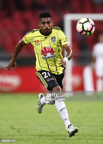 Roy Krishna of the Phoenix controls the ball during the round 23 ALeague match between the Western Sydney Wanderers and the Wellington Phoenix at...