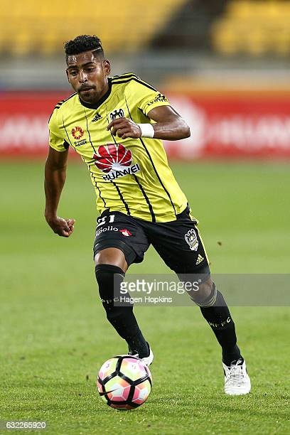 Roy Krishna of the Phoenix in action during the round 16 ALeague match between the Wellington Phoenix and the Brisbane Roar at Westpac Stadium on...