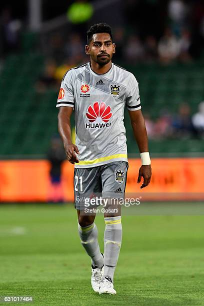 Roy Krishna of the Phoenix leaves the ground after being red carded during the round 14 ALeague match between the Perth Glory and the Wellington...