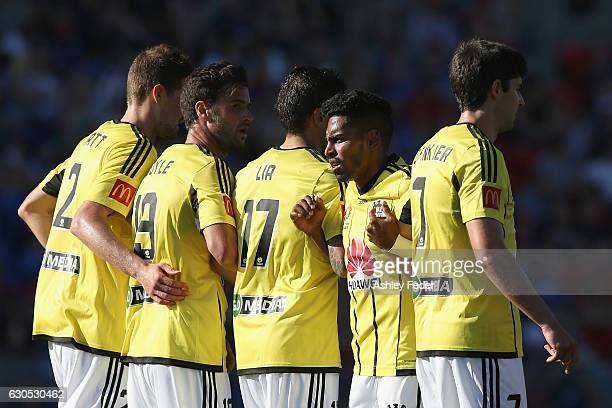 Roy Krishna of the Phoenix lines up to defend a free kick with his team during the round 12 ALeague match between the Newcastle Jets and the...