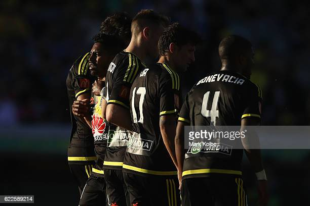 Roy Krishna of the Phoenix looks back at the goal from the defensive wall during the round six ALeague match between the Central Coast Mariners and...