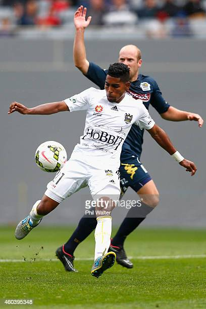 Roy Krishna of the Phoenix scores a goal during the round 11 ALeague match between the Wellington Phoenix and the Central Coast Mariners at Eden Park...